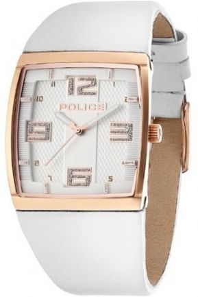 "Police ""Vision X"" 13937MSR/04 Unisex Analogue Watch White Leather Strap"